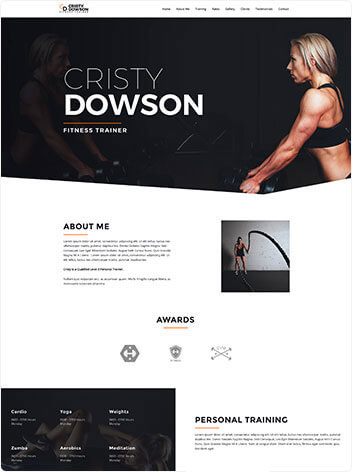Fitness trainer website design services