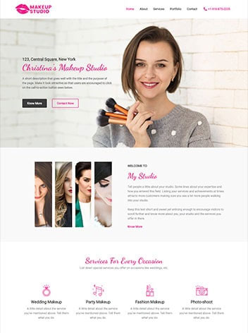 Make up artist website design